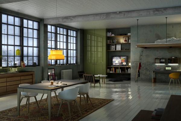 3D visualisering af loft lejlighed