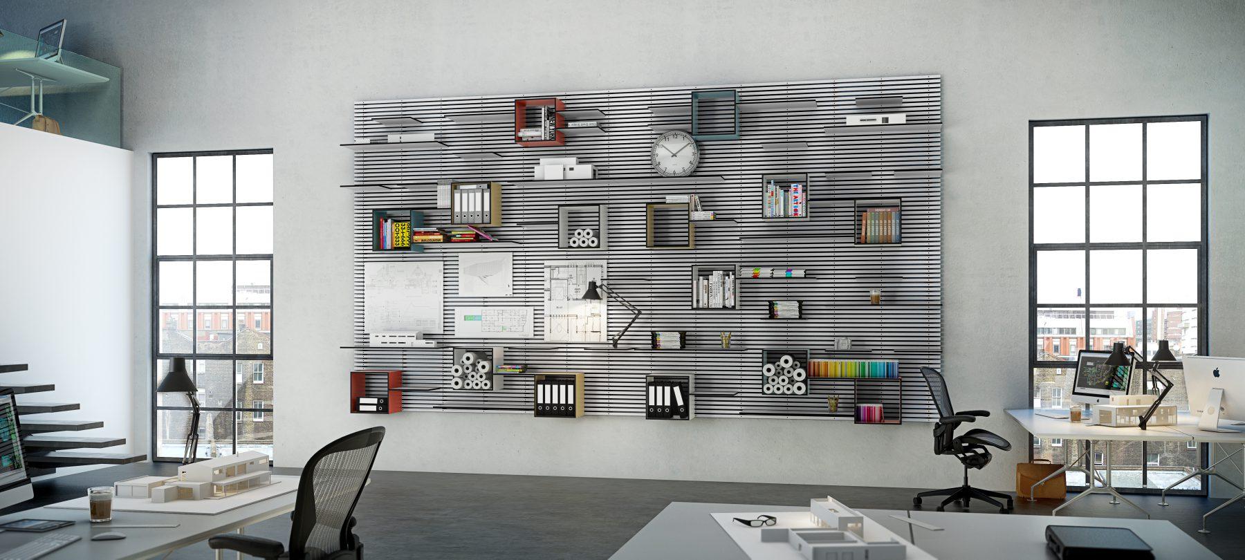 3D visualisering af Wallume reol - Arkitekt tegnestue