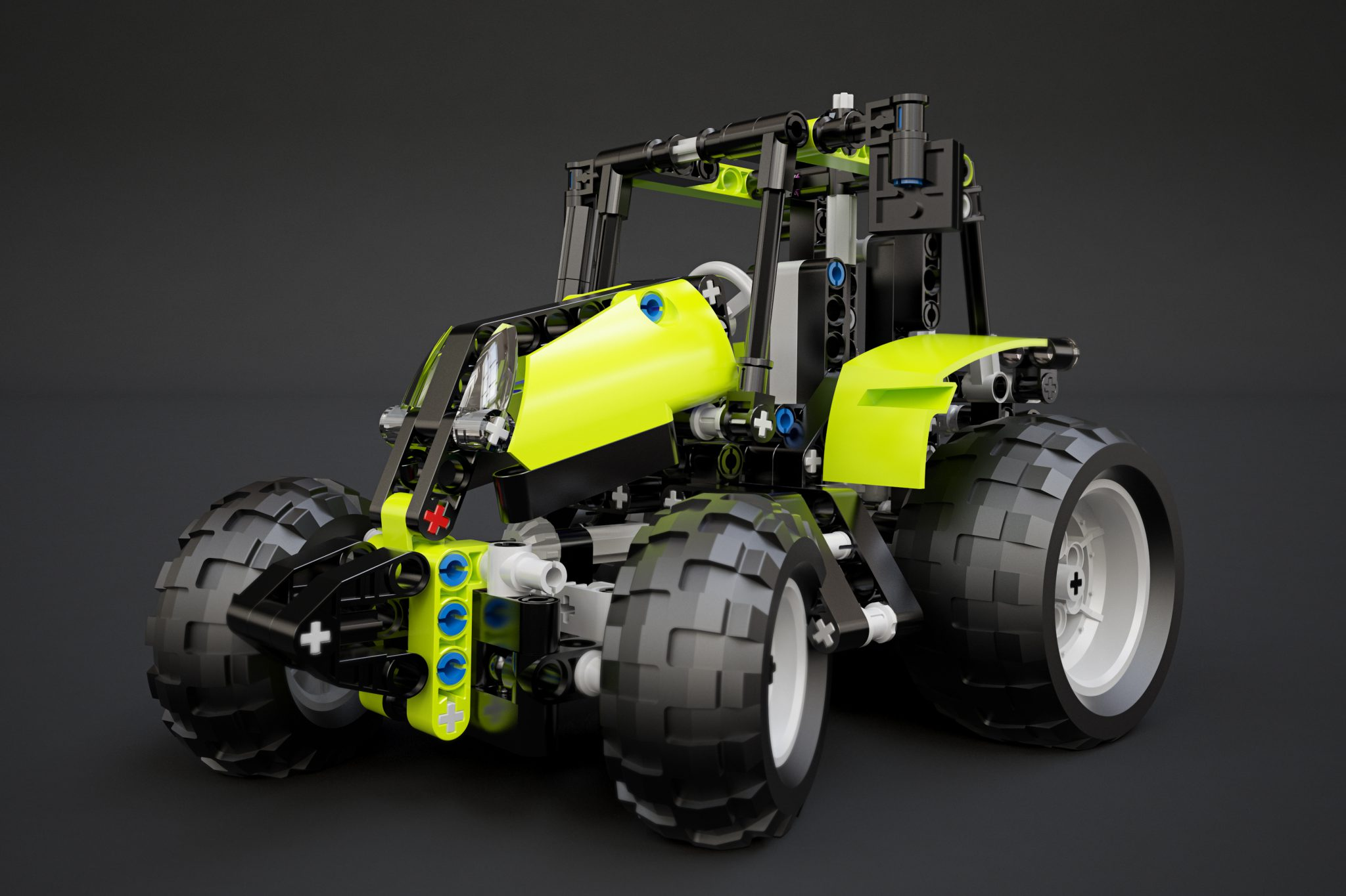 3D visualisering af Lego Technic 9393 tractor