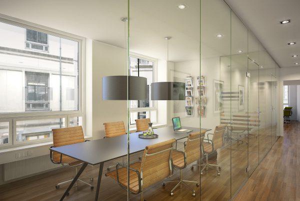 3D visualisering af mødelokale i det gamle BT hus
