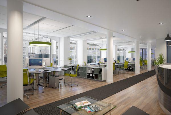 3D visualisering af kontormiljø i det gamle BT hus