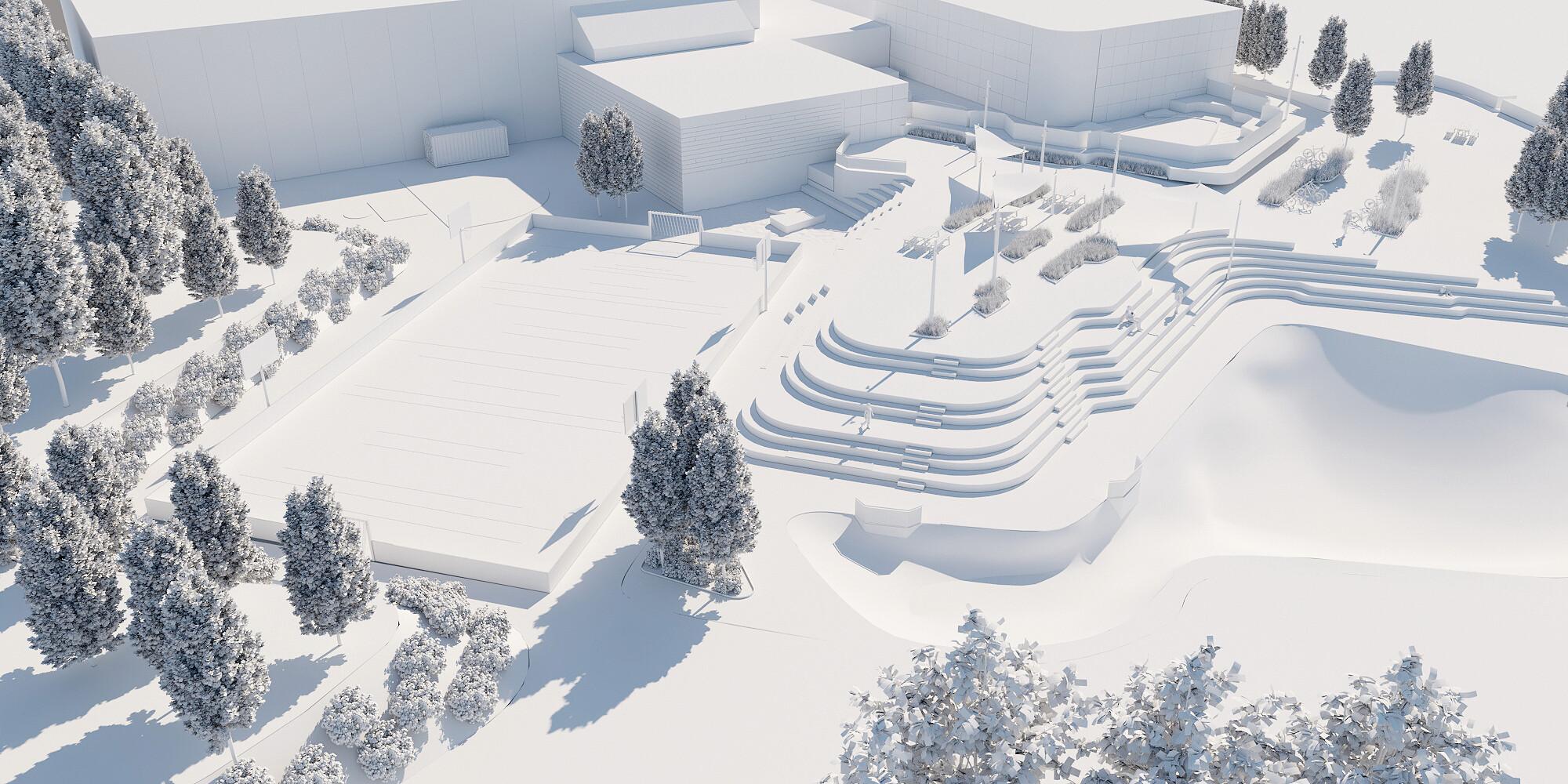 Arena Syd Luftfoto hvid